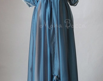 Edwardian blue dress handmade in England Lady Mary inspired Downton Abbey 1912 gown Gibson girl Ready made size 6US 10UK petite Miss
