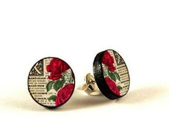 Red Rose Vintage Retro - handmade stud earrings - decoupage