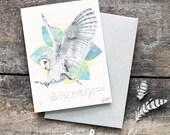 Barn Owl Greeting Card - Blank Card, Hand Drawn Owl, Original Artwork, Owl Illustration, Bohemian Decor, Archival Print,  wildlife art