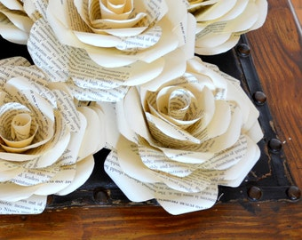 Book Paper Blooms- Roses-Flowers-Centerpieces-Table Decoration-Wedding Decoration