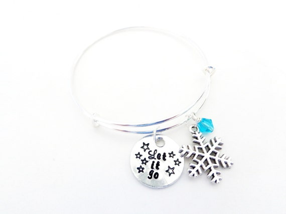 Let it Go Bangle Bracelet - Snow Flake - Music Inspired - Stars - Fun and Customizable