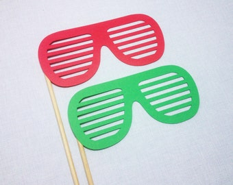 Christmas Shutter Shades Photo Props - Christmas Photobooth Props - Holiday Photo Booth Props