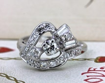 Heart and Arrow Ring   Alternative Engagement Ring   Antique 14k White Gold Ring   Retro 1940s Diamond Ring   Mid Century Ring   Size 4.5