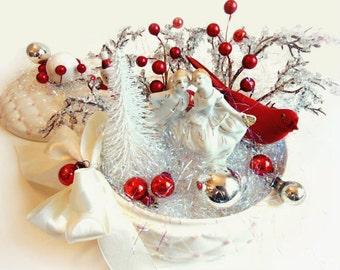 Elegant Victorian Christmas Centerpiece, Winter Wonderland Snowy Scene, Holiday Tabletop Arrangement, Red White Winter Party Decoration