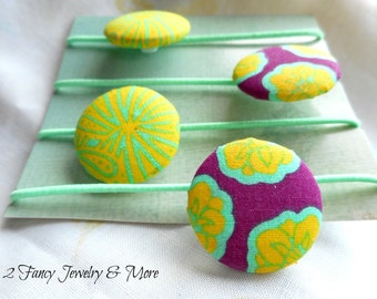 Yellow and Green Fabric Covered Button Hair Ties ~ Elastic Hair Tie ~ Little Girls Ponytail Hold ~ Button Hair Ties ~ Girls Stocking Stuffer