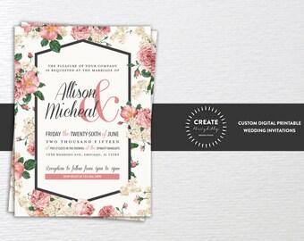 Elegant Floral Wedding Invitation, Custom Printable Invitation