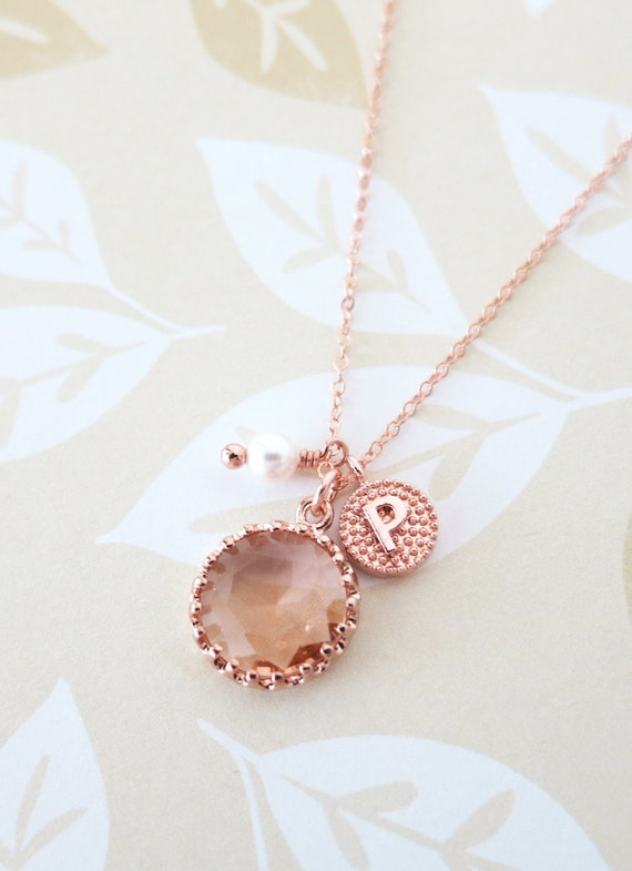 Personalised Rose Gold Champagne Glass drop Necklace - initial letter, Wedding Bridesmaid bridal shower gifts, pink rose gold weddings