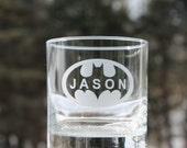 etched whiskey glass, Etched Rock glass, Batman,  personalized, Etched - 11oz, Rock Glasses, Cocktail Glasses, personalized etched