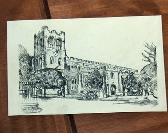 Coggeshall Church Original Drypoint Print