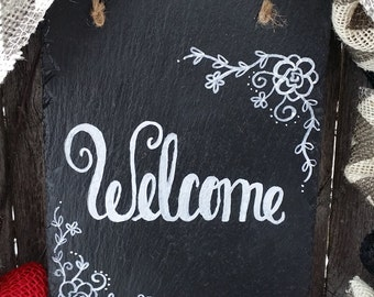 Wreath Welcome Sign, Slate Plaque Sign, Wreath Add-on Sign, Holiday Sign