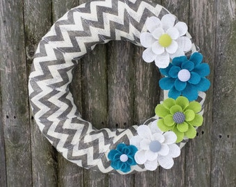 Spring Wreath, Spring Burlap Wreath Chevron with Teal, White and Lime Green Burlap Flowers