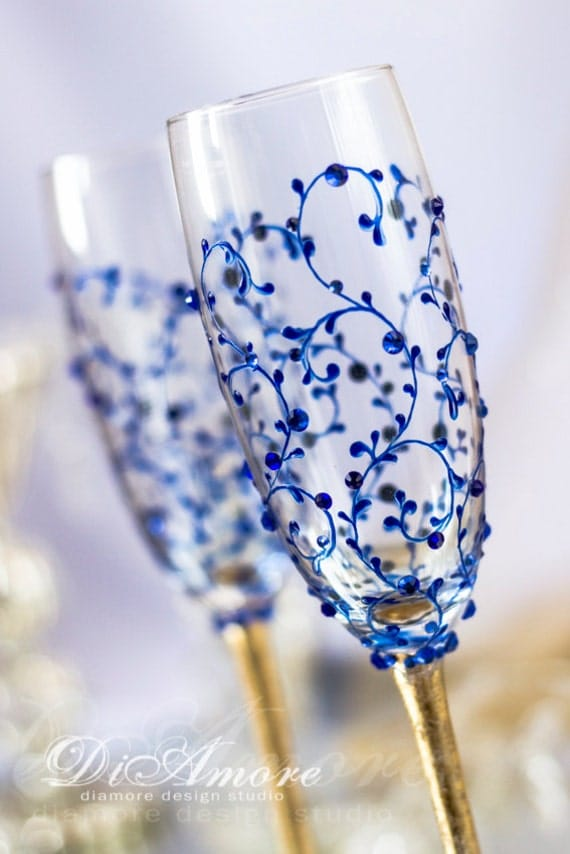 decorate champagne glasses. Like this item  Gold Royal Blue Personalized Wedding Set Champagne Flutes