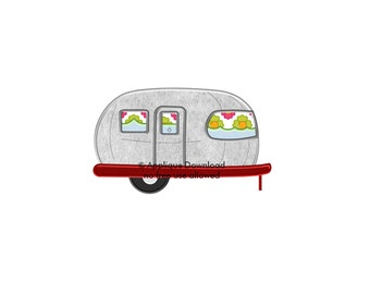 Airstream Vintage Camper Applique Design  - Instant EMAIL With Download - for Embroidery Machines