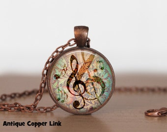 G-Clef Necklace or G-Clef Key Ring, G-Clef pendant, G-Clef Jewelry, Music Note Necklace, Music Note Jewelry, Treble Clef, B5