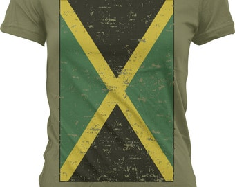 Jamaican Flag Ladies T-shirt, Big Faded Jamaican Flag, Over-sized Jamaican Flag, Jamaica Pride, Junior and Women's Jamaica T-shirts GH_00123