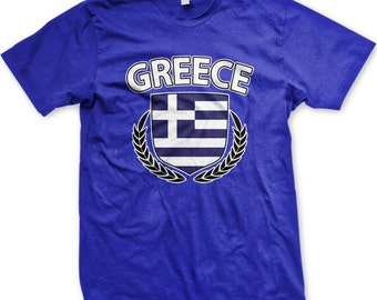 Greece Flag Crest With Olive Branches Men's T-shirt, Greek Flag Shield, Hellas, Hellenic Republic, Men's Greece T-shirts GH_00355_tee