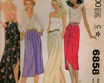 Vintage McCall's pattern 6858; Miss size 12 Flowing skirt from 1979