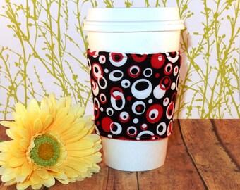 Fabric Coffee Cozy / Crazy Circles Coffee Cozy / Circle Coffee Cozy / Coffee Cozy / Tea Cozy