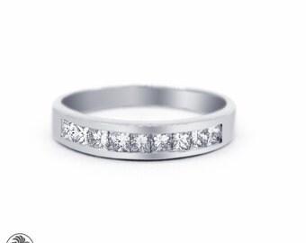 Princess Cut Anniversary Band, Channel Set Diamond Band, Princess Diamond Channel Set Band, Diamond Band, Wedding Band | LDR02050