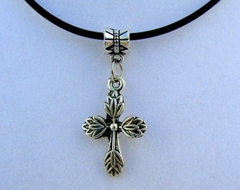 """Silver Feathered Cross 16"""" Pendant Necklace (N137)"""