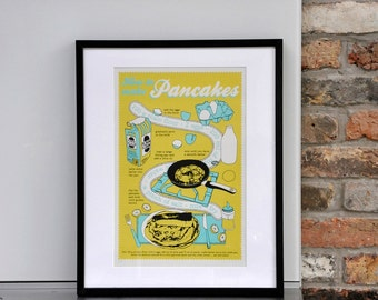 Pancake recipe poster - 3 colour limited edition screen print
