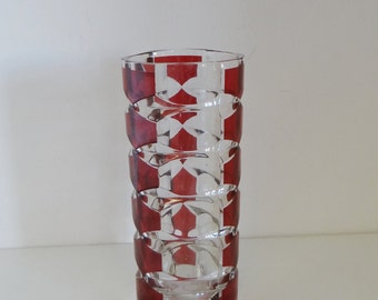 Vintage Glass Vase Luminarc J G Durand 1970s Windsor Rubis Geometric Pattern Ruby Flash Crystal Made in France