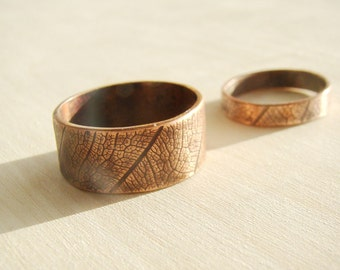 Personalised engraved Matching couple jewelry, His and her ring set, leaf rings, nature Wedding Bands, Matching Couple Rings