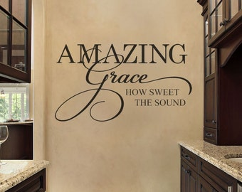 Christian Wall Decal - Family Wall Decal - Bible Verse Wall Decal - Amazing Grace - Wall Decal - Vinyl Wall Decal - Bible Scripture