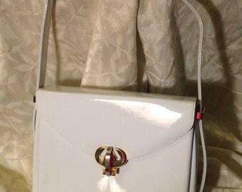 60s white patent leather handbag by Prestige
