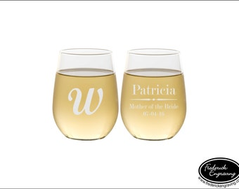 TWO Custom Etched Wine Glasses, SHIPS FAST, Personalized Wedding Glasses, Custom Bridal Party Wine Glasses, Etched Custom Wine Glasses