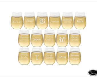 16 Engraved Wine Glasses, SHIPS FAST, Etched Personalized Wine Glasses, Wedding Wine Glasses, Engraved Bridesmaid Glasses, Bridesmaid Gift
