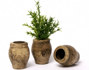 Miniature Wooden Vase Nut Brown for Your Dollhouse