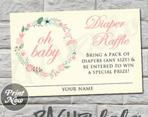 Floral Wreath, Diaper Raffle, Baby Shower, INSTANT DOWNLOAD