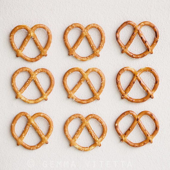 Pretzel Wall Art, Food Photo // Still Life, Macro Fine Art Photography, Minimalist Décor, Kitchen Art - 5x5/8x8/12x12