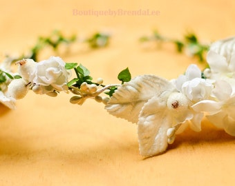 Timeless White Flowers Crown
