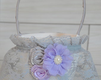 Gray and Lavender Flower Girl Basket
