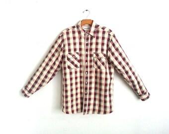 Vintage Flannel Shirt Red Plaid Men's Medium