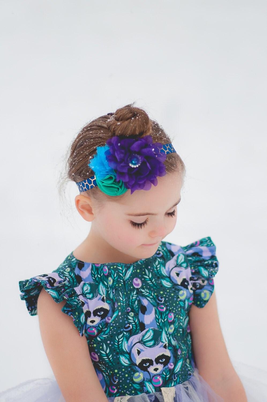 Peacock Blue Headband Teal Flower Headband Purple Headband