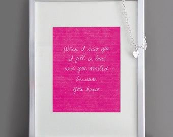 When I saw you... - Love Quote Print