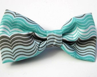 Dog Bow Tie, Aqua Lines,  Removable and Adjustable, Bow Tie for Dogs and Weddings, Made to Order in Your Choice of Size