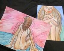 WOMAN NUDE PAINTING original sensual erotica abstract nudes art nudes etsy.com etsy com etay.com best selling items watercolors paintings
