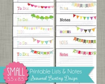 """Seasonal Bunting To-Do Lists & Notes {Printable} - Sized Small 5.5 x 8.5"""" PDF"""