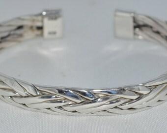 Sterling Silver Weave Cuff Bracelet Free Shipping (US)