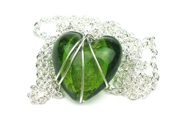 Green Heart Necklace with Wire Wrapped Glass Pendant and Silver Chain