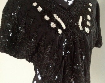 Vintage Black & White Sequin Butterfly Top - Small