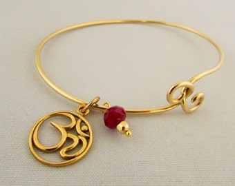 Om and Red Swarovski Bead 14K Gold Plated Flexible Handcrafted Bracelet