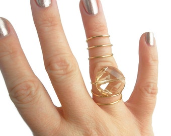 Gold Spiral Full Finger Ring with Golden Shadow Swarovski Crystal