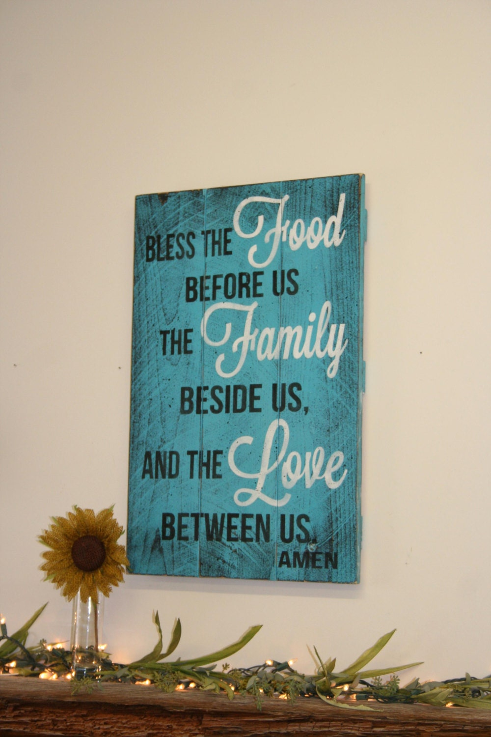 Bless The Food Before Us Kitchen Sign Pallet By