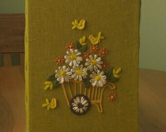 Vintage three-dimensional needlework decorative textile piece