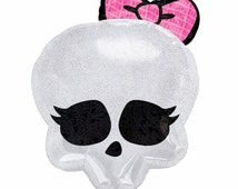 "Two 14"" Monster High Skeleton  Mini Foil Balloons Create Banners Cake Toppers Birthday Party Supplies Air Fill Only"
